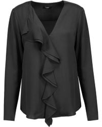 Theory - Jastrid Ruffled Silk Crepe De Chine Top - Lyst