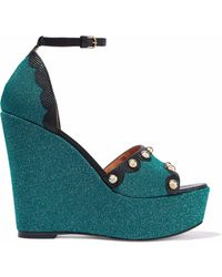 M Missoni - Studded Leather-trimmed Metallic Knitted Wedge Sandals - Lyst
