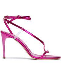 Oscar de la Renta - Metallic Leather Sandals - Lyst