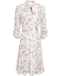 Mikael Aghal - Woman Pussy-bow Floral-print Crepe Dress White - Lyst
