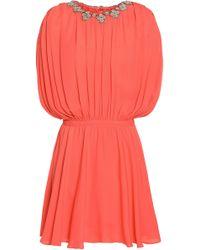 Valentino - Embellished Pleated Silk Crepe De Chine Mini Dress - Lyst