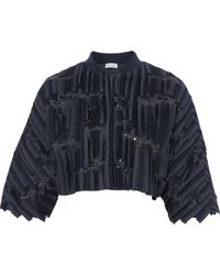 Brunello Cucinelli - Sequin And Tulle-embellished Silk-blend Jacket Midnight Blue - Lyst