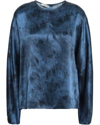 Vince - Woman Tie-dyed Silk-satin Blouse Midnight Blue - Lyst