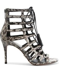 Michael Kors - Bardot Cutout Snake-effect Leather Sandals - Lyst