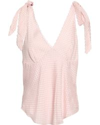 Lover - Woman Mimi Bow-detailed Silk-blend Fil Coupé Top Pastel Pink - Lyst