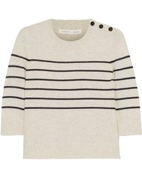 Veronica Beard - Knot Mariner Oxford-paneled Striped Silk And Cashmere-blend Top - Lyst