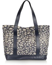 Iris & Ink - Leather-trimmed Leopard-jacquard Tote - Lyst