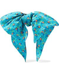 Alessandra Rich - Woman Knotted Floral-print Crepe Hair Clip Turquoise Size -- - Lyst