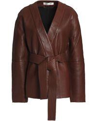 Diane von Furstenberg - Woman Belted Leather Jacket Brown Size Xs - Lyst