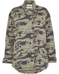 Monrow - Woman Printed Cotton-twill Jacket Army Green - Lyst