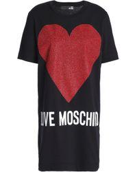 Love Moschino - Metallic Printed Cotton-jersey Mini Dress - Lyst