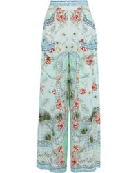 Camilla - Woman Shades Of Rio Embellished Printed Silk Crepe De Chine Wide-leg Trousers Mint - Lyst