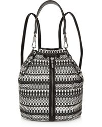 Elizabeth and James - Cynnie Sling Convertible Leather-trimmed Jacquard Backpack - Lyst