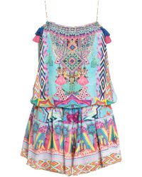 a6bc7aaa3b Camilla - Woman Masking Madness Embellished Printed Silk Playsuit  Multicolour - Lyst