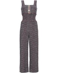 413a8d1b3c Maje - Woman Cotton-blend Tweed Jumpsuit Red - Lyst