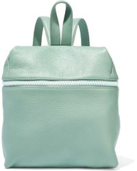 Kara - Woman Small Textured-leather Backpack Grey Green - Lyst