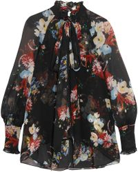 Erdem - Pussy-bow Floral-print Silk-voile Top - Lyst