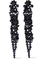 Kenneth Jay Lane - Crystal, Chain And Silver-tone Earrings - Lyst
