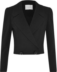 Carolina Herrera - Double-breasted Cropped Wool And Cotton-blend Blazer - Lyst