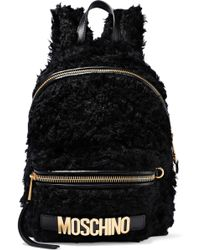 Moschino - Leather-trimmed Faux Shearling Backpack - Lyst
