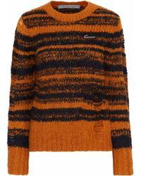 Raquel Allegra - Stripe Lofty Distressed Intarsia-knit Sweater - Lyst