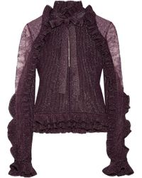 Elie Saab - Lace-paneled Ruffle-trimmed Metallic Ribbed-knit Top - Lyst