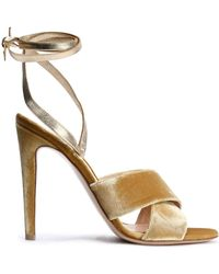 Gianvito Rossi - Crissy Leather And Velvet Sandals - Lyst