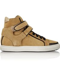 Maje - Leather-trimmed Suede Trainers - Lyst