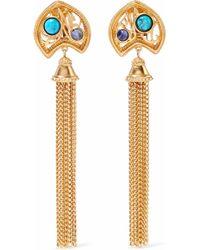 Ben-Amun - Gold-tone, Stone And Tassel Clip Earrings - Lyst