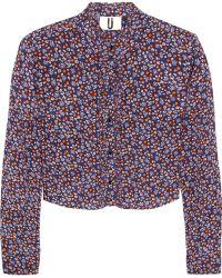 Topshop Unique - Ottoline Cropped Silk Crepe De Chine Blouse - Lyst