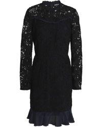 Markus Lupfer - Lana Ruffle-trimmed Guipure Lace Mini Dress - Lyst