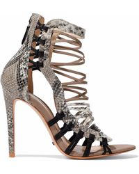 Schutz - Ermmana Suede-trimmed Python-effect Leather Sandals - Lyst