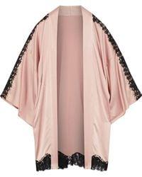 Fleur du Mal - Chantilly Lace-trimmed Silk-blend Charmeuse Robe - Lyst