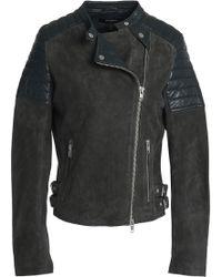 Muubaa - Leather-paneled Suede Biker Jacket - Lyst
