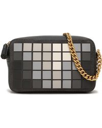 Anya Hindmarch - Woman Giant Pixel Appliquéd Suede And Leather Shoulder Bag Charcoal - Lyst