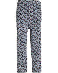 Marni - Cropped Floral-print Silk Straight-leg Pants Light Blue - Lyst