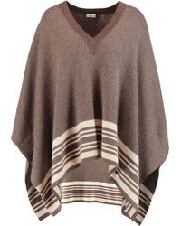 Vince - Striped Wool And Cashmere-blend Poncho - Lyst