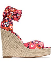 Michael Kors - Lace-up Floral-print Crepe Wedge Espadrille Sandals - Lyst