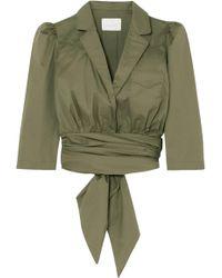 Johanna Ortiz Oriana Wrap-effect Stretch-cotton Poplin Shirt Army Green