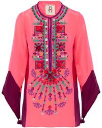 Figue - Color-block Embellished Silk Tunic - Lyst