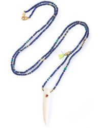 Chan Luu - Gold-plated, Bone, Tassel And Stone Beaded Necklace - Lyst