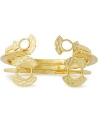Noir Jewelry - Set Of Three Hammered Gold-tone Cuffs - Lyst