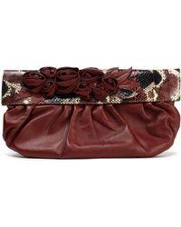 Valentino - Floral-appliquéd Python-paneled Leather Clutch - Lyst