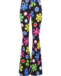 Moschino - Printed Crepe Flared Trousers - Lyst