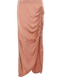 Raquel Allegra - Ruched Satin-jersey Midi Skirt Antique Rose - Lyst