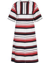 Dolce & Gabbana - Woman Striped Cotton-blend Gabardine Coat White - Lyst