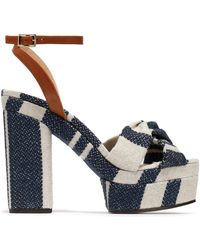 Castaner - Amaia Striped Linen And Leather Platform Sandals - Lyst