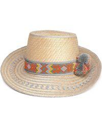 Yosuzi - Bead And Pompom-embellished Woven Straw Sunhat Light Gray - Lyst