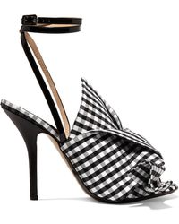 N°21 - Leather-trimmed Knotted Gingham Canvas Sandals - Lyst