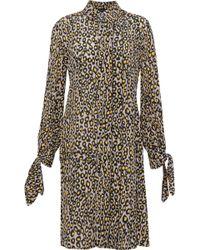 Derek Lam - Knotted Leopard-print Silk Crepe De Chine Shirt Dress Animal Print - Lyst